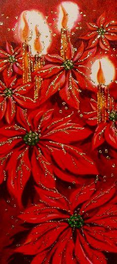 Christmas Poinsettias. Christmas Candles. Vintage Christmas Card. Retro Christmas Card.