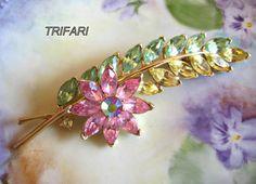 TRIFARI Brooch Pastel Floral Vintage by VintageJewelryMeadow, $42.00