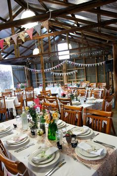Wedding decor in the barn / machinery shed. Rustic vintage.