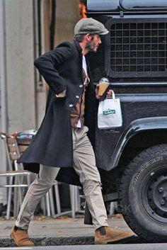 David Beckham wearing  Saint Laurent Cigar Suede Chelsea Boot, James Lock