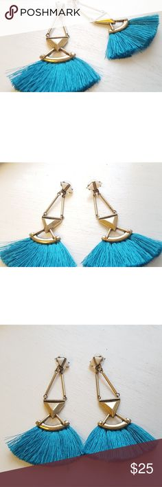"""Antique Gold/Turquoise/White Tassel Earrings!!! These trendy statement tassel earrings are really fun !! They are about 2.5"""" long and are definitely a must for spring summer wardrobe. Had many compliments on them:) Happy poshing🤗💟☀️ Jewelry Earrings"""