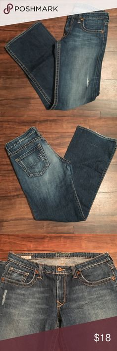 Big Star Casey Jeans Big Star Casey Sz 30S flare cut slightly destructed jeans. Some wear on bottoms but otherwise in good condition. Big Star Jeans Flare & Wide Leg
