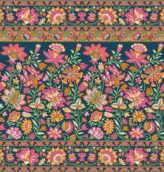 Textile Prints, Textile Design, Textiles, Border Embroidery Designs, Lace Border, Botanical Flowers, Border Design, Pattern Art, Art Inspo