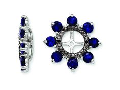 Sterling Silver Created Blue Sapphire and Black Sapphire Earring Jackets