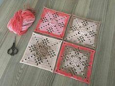 Crochet Blocks, Granny Square Crochet Pattern, Afghan Crochet Patterns, Crochet Squares, Crochet Granny, Crochet Doilies, Thread Crochet, Crochet Stitches, Knit Crochet