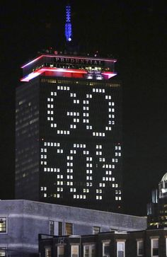 "The words ""Go Sox"" are illuminated on the side of the Prudential Tower before Game 6 of baseball's World Series between the Boston Red Sox and St. Louis Cardinals Wednesday, Oct. 30, 2013, in Boston."