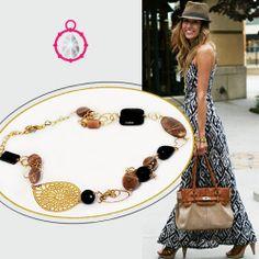#Collana Lunga in Argento Color Oro, #Pietra-di-Luna e #Onice