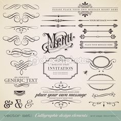 Vector set: calligraphic design elements and page decoration (1) — Imagen vectorial #9455001