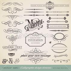 Elementos de design de caligrafia e decoração de página — Vetor de Stock © studio_accanto #9455001