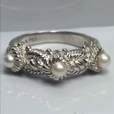 Judith Ripka Three Pearl Stack Ring 925 This ring is intricately detailed and perfect for stacking or to wear alone for simple, classic style.  In excellent condition, no signs of wear and comes with free gift!  Judith Ripka Jewelry Rings