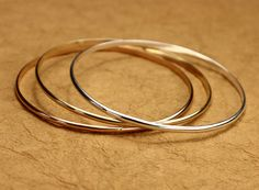 Set of 3 Tri-Colored Bangles - Sterling Silver Bangle, Gold Bangle, Rose Gold Bangle, Delicate Bracelet, Thin Bangle Bracelet Set on Etsy, $88.00