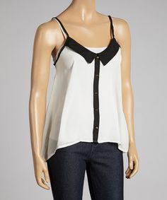 Another great find on #zulily! Ivory & Black Sleeveless Button-Up Top - Women by Select Brands #zulilyfinds