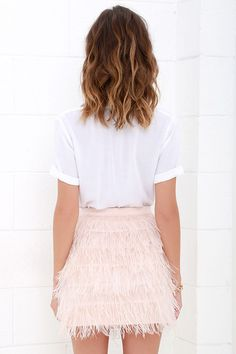 Fly High Blush Pink Feather Mini Skirt at Lulus.com!