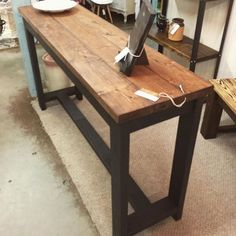 5' rustic all wood console table just added to booth 215 @shopalyssas #rustic #woodworking #consoletable #shoplocal #alyssas #liveoakliving