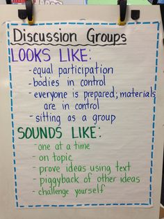 Anchor Chart for Discussion Groups