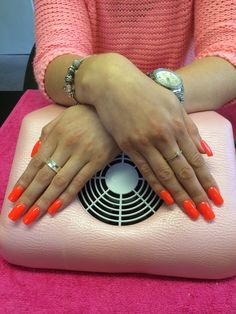 Acrylic extensions with neon orange gel polish! Fabulous summer nails ❤️❤️❤️