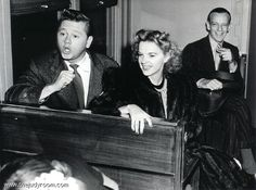 Judy Garland, Mickey Rooney, and Fred Astaire on a USO tour in 1942
