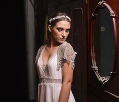 MUST HAVE! — The same headpiece from the front- Embroidered crystal and pearl bridal headpiece