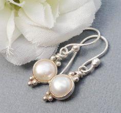 Sterling Silver Freshwater Pearl Drop Earrings by Kikiburrabeads, $18.50