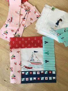Fussy cut Seaside Quilt blocks + partial seams tutorial - love the fabric! Quilting Tutorials, Quilting Projects, Quilting Designs, Sewing Projects, Quilting Ideas, Sewing Tips, Baby Quilt Tutorials, Sewing Tutorials, Cute Quilts