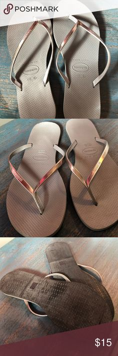 379f994a2096d Havaiana flip flops Havaianas Grey with silver strap flip flops size 11