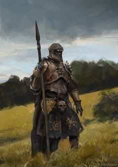 m Fighter Hvy Armor Cloak Helm Lance Sword Farmland hills Deciduous forest by song yueran lg Fantasy Character Design, Character Concept, Character Art, Concept Art, Fantasy Armor, Medieval Fantasy, Dark Fantasy Art, Fantasy Inspiration, Character Inspiration