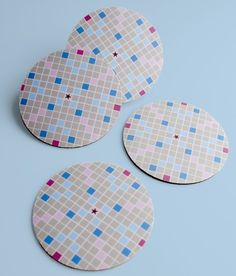 Recycled from a scrabble game...coasters!