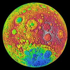 This psychedelic image shows the moon's topography from the Lunar Reconnaissance Orbiter's Lunar Orbiter Laser Altimeter instruments, with the highest elevations in red and the lowest areas in blue. The photo captured the side of the moon that always faces toward our planet. The LRO is NASA's youngest moon probe, with the mission beginning in June 2009.