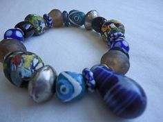 Mixed Blues African Beads Chunky Stretch Large Bead Bracelet olivemlou olive mlou olive m'lou