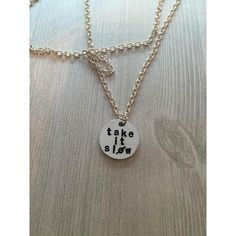 Take It Slow Hand Stamped Necklace ($12) ❤ liked on Polyvore featuring jewelry, necklaces, special occasion jewelry, chains jewelry, letter jewelry, hand stamped necklace and holiday jewelry