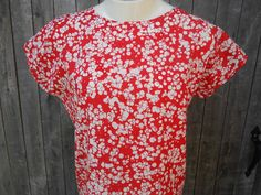 70s Vintage Blouse Red and White Top Bubble by ThingsRedeemed, $15.00