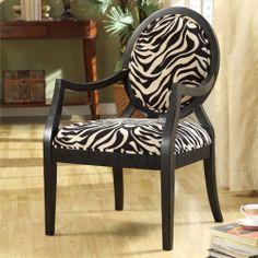 New Zebra Oval Back Safari Look Furniture Arm Chair Hand Carved Details Soft Pad | eBay