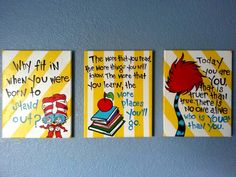 Dr. Seuss Wall Art for Children's Room by PaintedbyLinda on Etsy