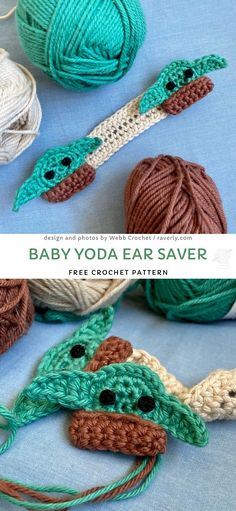 Crochet ear savers space pod for yoda amigurumi! Crochet Mask, Crochet Faces, Crochet Diy, Crochet Amigurumi, Easy Crochet Patterns, Small Crochet Gifts, Crochet Twist, Yarn Projects, Crochet Projects