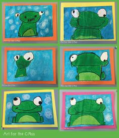 Last week my class made these adorable frog artworks. We read a frog based story that complemented our unit of work on water. I cannot reme. Art for the Class: Frog Art Making- Directed Drawing Art for the Class: Frog Art Making - made with oil pastels. Kindergarten Art Lessons, Art Lessons Elementary, Kindergarten Drawing, Spring Art Projects, School Art Projects, Drawing For Kids, Art For Kids, Drawing Art, Frog Drawing