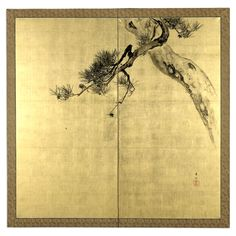 Suzuki Kason, Pine, Bird and Spider, a 2-fold screen painting Japan Meiji era, late 19th - early 20th century AD