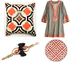 (Quatrefoil Linen Throw Pillow from Clayton Gray Home, Calypso Celle tunic, Lulu Frost brass chain bracelet and morrocan plate from Jayson Home and Garden)