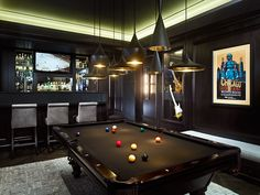 Every man cave needs a pool table and a bar. See our basement remodeling guide f. Every man cave needs a pool table and a bar. See our basement remodeling guide for functionality an Game Room Design, Family Room Design, Billard Bar, Billard Table, Best Man Caves, Pool Table Room, Pool Tables, Man Cave Games, Man Cave Ideas Gamer