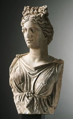 Roman, Antonine Colossal bust of a goddess or personification, ca. 160–190 A.D. White marble with grey veining