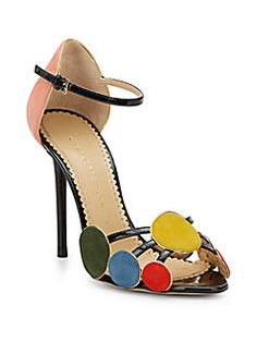 Charlotte Olympia - Contemporary Velvet & Patent Leather Sandals