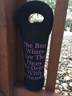 Best Friends Wine Tote Carrier Black Purple by ShellieHawksDesigns