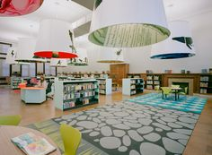 "Sage & Coombe - children's library at Fort Washington, the graphics on the giant lampshades were used to define a series of ""rooms"" and create distinct environments."