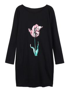 Sale 18% (18.23$) - Women Floral Printed O-neck Long Sleeve Loose Casual Dress