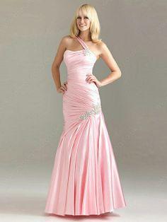 Trumpet/Mermaid One Shoulder Taffeta Floor-length Sleeveless Crystal Detailing Prom Dresses