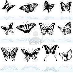 Butterfly Silhouetten - farbiger Abbildung Stockfoto - 8875077