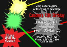 Laser Tag Invitation Birthday Party by jcsaccents on Etsy, $13.00