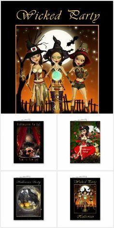 Halloween Party Invitations #Halloween #HalloweenParty #HalloweenPartyInvitations #Witch #Raven #Wicked #Invitations #Zazzle