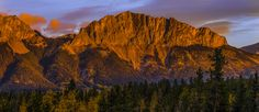 rocky mountain sunrise - sunrise near Banff Alberta. I waited for the sun to clear a ridge to illuminate this mountain near Banff, Alberta Banff Alberta, Rocky Mountains, Sunrise Sunrise, Sunrises, Travel, Landscapes, Paisajes, Viajes, Scenery