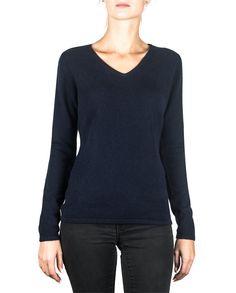 Damen Kaschmir Pullover V-Ausschnitt marine blau front Elegant, Pulls, Sweatshirts, Tops, Sweaters, Gilets, Fashion, Black, Women