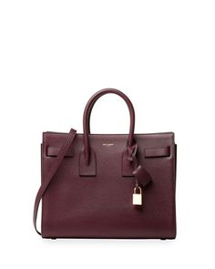 Sac+de+Jour+Leather+Small+Carryall+Bag,+Burgundy+by+Saint+Laurent+at+Bergdorf+Goodman.